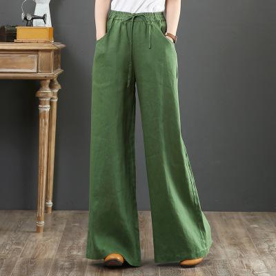韓国 ファッション パンツ ボトムス 春 夏 秋 カジュアル PTXI780  ゆったり ワイド リネン風 ナチュラルテイスト オルチャン シンプル 定番 セレカジの写真4枚目