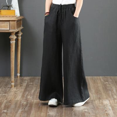 韓国 ファッション パンツ ボトムス 春 夏 秋 カジュアル PTXI780  ゆったり ワイド リネン風 ナチュラルテイスト オルチャン シンプル 定番 セレカジの写真5枚目