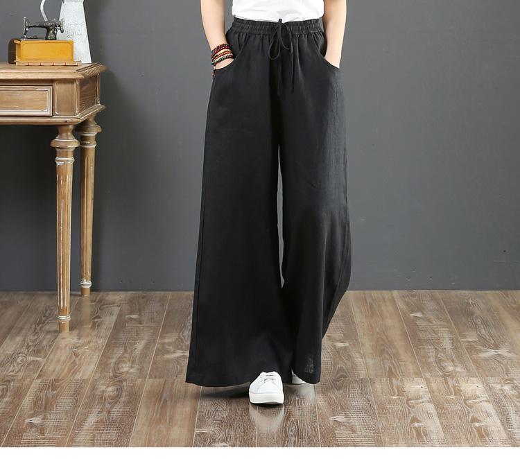 韓国 ファッション パンツ ボトムス 春 夏 秋 カジュアル PTXI780  ゆったり ワイド リネン風 ナチュラルテイスト オルチャン シンプル 定番 セレカジの写真11枚目