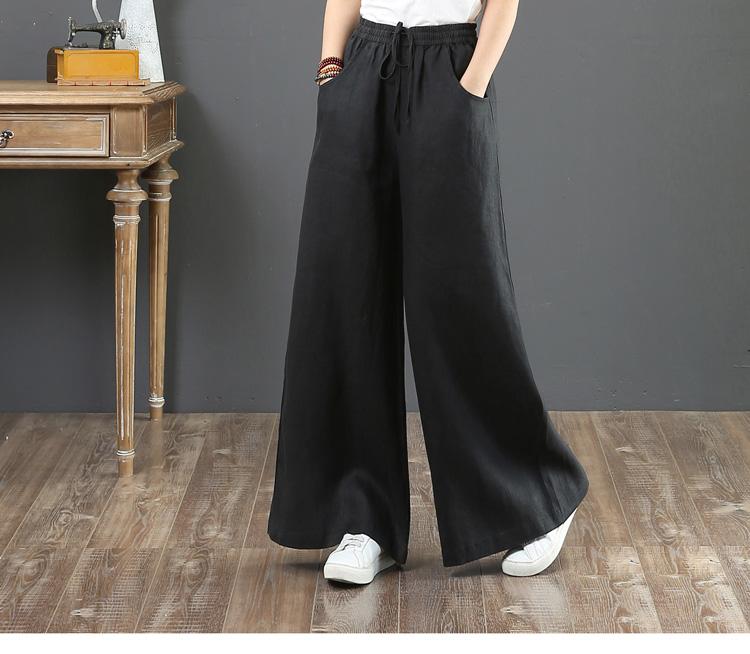 韓国 ファッション パンツ ボトムス 春 夏 秋 カジュアル PTXI780  ゆったり ワイド リネン風 ナチュラルテイスト オルチャン シンプル 定番 セレカジの写真13枚目