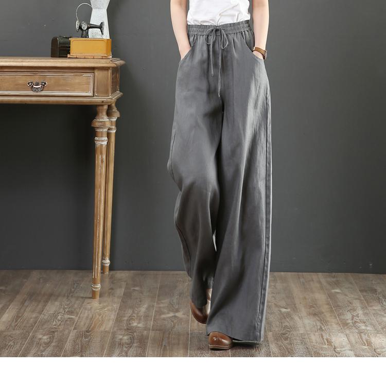 韓国 ファッション パンツ ボトムス 春 夏 秋 カジュアル PTXI780  ゆったり ワイド リネン風 ナチュラルテイスト オルチャン シンプル 定番 セレカジの写真14枚目