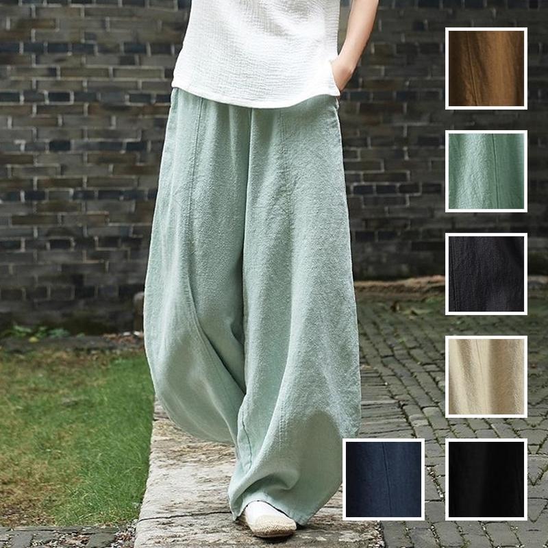 韓国 ファッション パンツ ボトムス 春 夏 秋 カジュアル PTXI781  リネン風 ゆったり ワイド バギーパンツ 裾絞り オルチャン シンプル 定番 セレカジの写真1枚目
