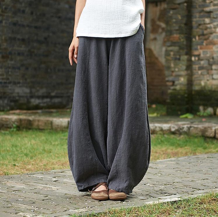 韓国 ファッション パンツ ボトムス 春 夏 秋 カジュアル PTXI781  リネン風 ゆったり ワイド バギーパンツ 裾絞り オルチャン シンプル 定番 セレカジの写真2枚目