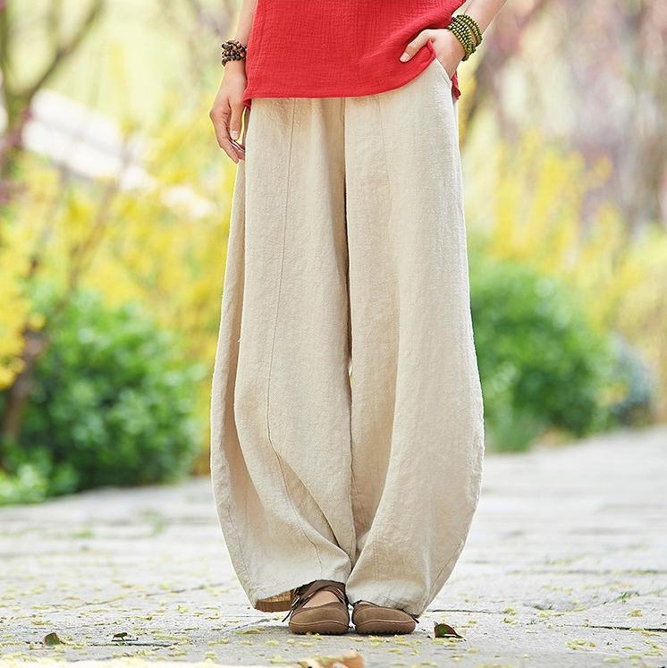 韓国 ファッション パンツ ボトムス 春 夏 秋 カジュアル PTXI781  リネン風 ゆったり ワイド バギーパンツ 裾絞り オルチャン シンプル 定番 セレカジの写真3枚目