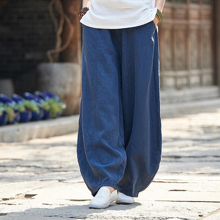 韓国 ファッション パンツ ボトムス 春 夏 秋 カジュアル PTXI781  リネン風 ゆったり ワイド バギーパンツ 裾絞り オルチャン シンプル 定番 セレカジの写真4枚目