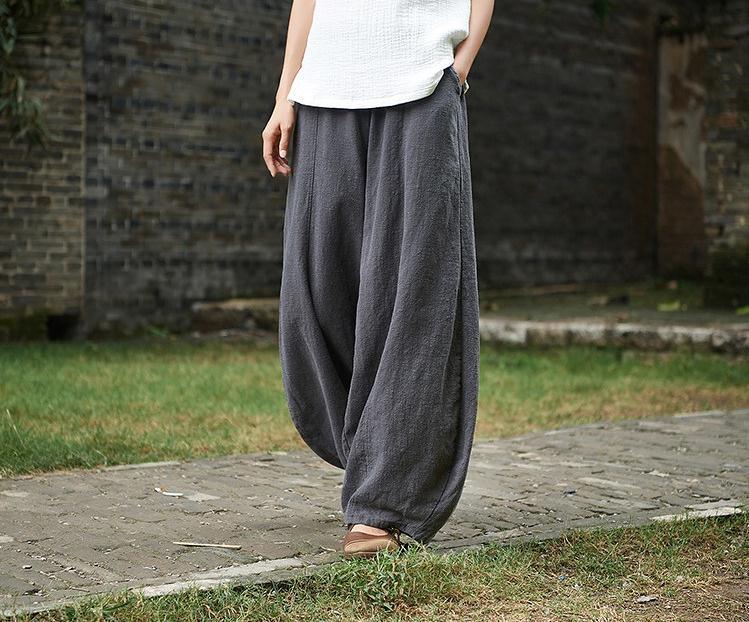 韓国 ファッション パンツ ボトムス 春 夏 秋 カジュアル PTXI781  リネン風 ゆったり ワイド バギーパンツ 裾絞り オルチャン シンプル 定番 セレカジの写真5枚目