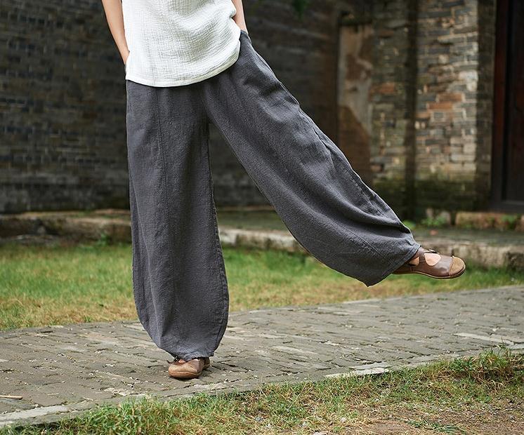 韓国 ファッション パンツ ボトムス 春 夏 秋 カジュアル PTXI781  リネン風 ゆったり ワイド バギーパンツ 裾絞り オルチャン シンプル 定番 セレカジの写真6枚目