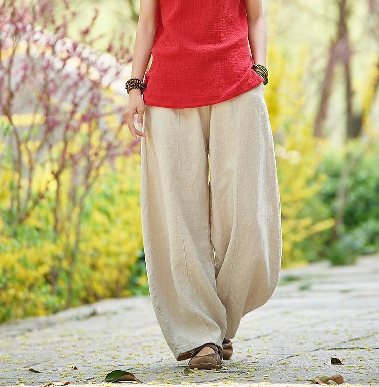 韓国 ファッション パンツ ボトムス 春 夏 秋 カジュアル PTXI781  リネン風 ゆったり ワイド バギーパンツ 裾絞り オルチャン シンプル 定番 セレカジの写真8枚目