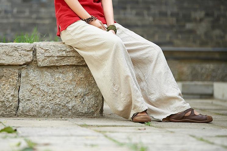 韓国 ファッション パンツ ボトムス 春 夏 秋 カジュアル PTXI781  リネン風 ゆったり ワイド バギーパンツ 裾絞り オルチャン シンプル 定番 セレカジの写真9枚目