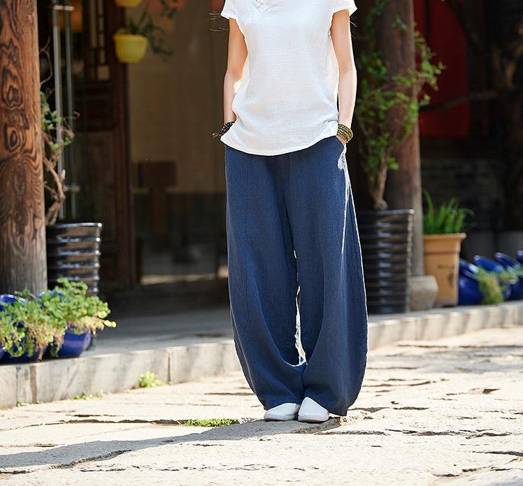 韓国 ファッション パンツ ボトムス 春 夏 秋 カジュアル PTXI781  リネン風 ゆったり ワイド バギーパンツ 裾絞り オルチャン シンプル 定番 セレカジの写真10枚目