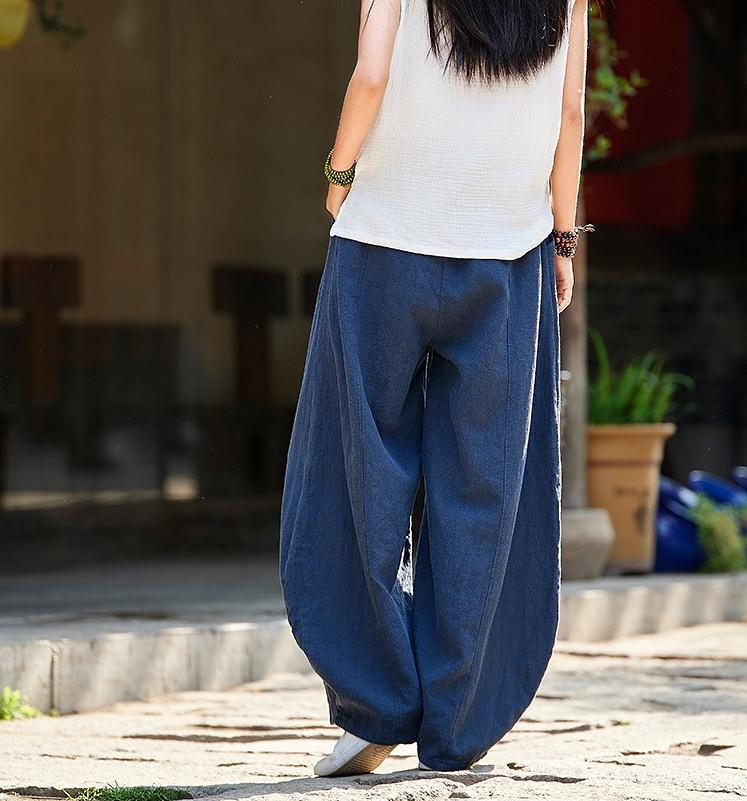 韓国 ファッション パンツ ボトムス 春 夏 秋 カジュアル PTXI781  リネン風 ゆったり ワイド バギーパンツ 裾絞り オルチャン シンプル 定番 セレカジの写真11枚目
