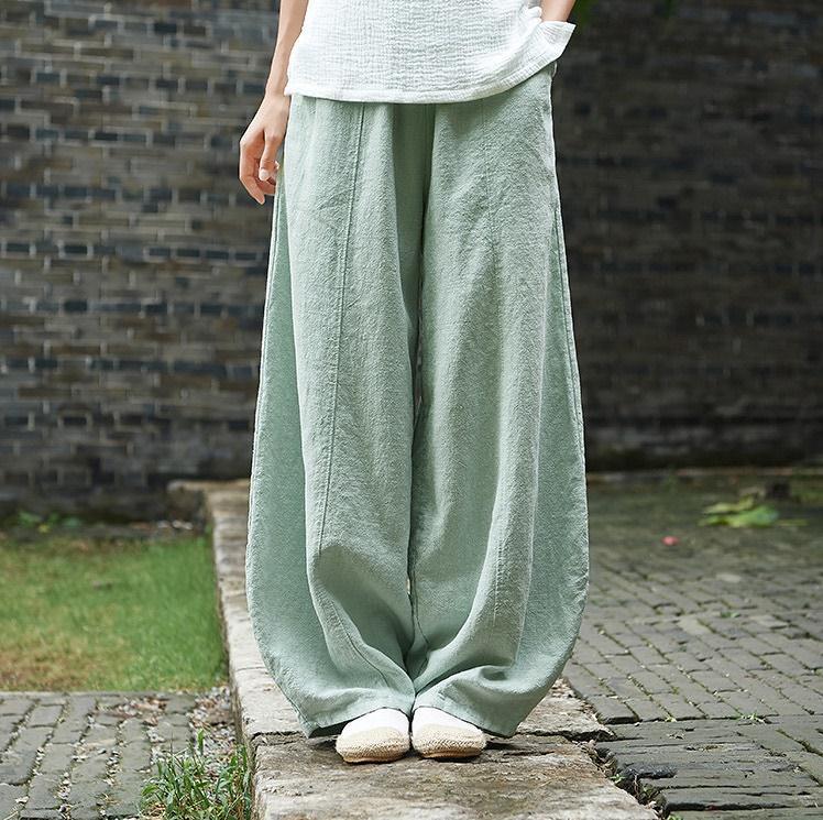 韓国 ファッション パンツ ボトムス 春 夏 秋 カジュアル PTXI781  リネン風 ゆったり ワイド バギーパンツ 裾絞り オルチャン シンプル 定番 セレカジの写真12枚目