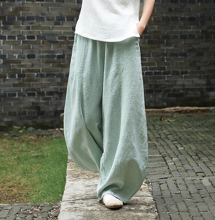 韓国 ファッション パンツ ボトムス 春 夏 秋 カジュアル PTXI781  リネン風 ゆったり ワイド バギーパンツ 裾絞り オルチャン シンプル 定番 セレカジの写真13枚目
