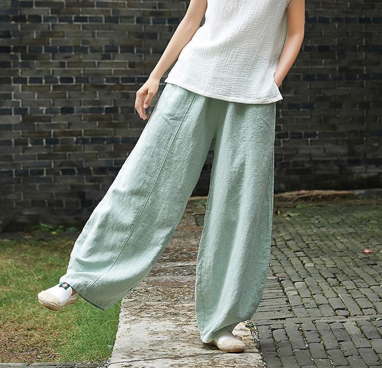 韓国 ファッション パンツ ボトムス 春 夏 秋 カジュアル PTXI781  リネン風 ゆったり ワイド バギーパンツ 裾絞り オルチャン シンプル 定番 セレカジの写真14枚目