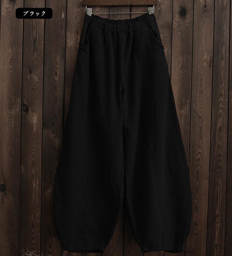 韓国 ファッション パンツ ボトムス 春 夏 秋 カジュアル PTXI781  リネン風 ゆったり ワイド バギーパンツ 裾絞り オルチャン シンプル 定番 セレカジの写真15枚目