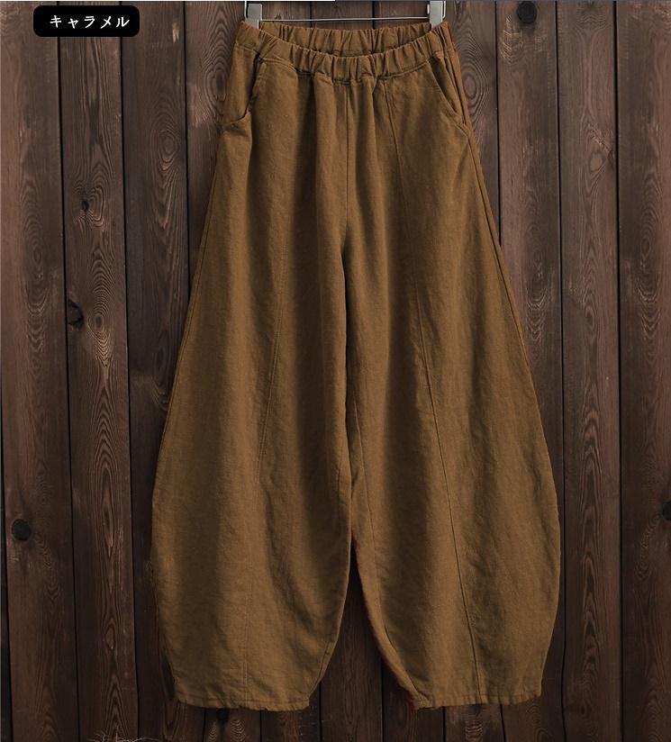 韓国 ファッション パンツ ボトムス 春 夏 秋 カジュアル PTXI781  リネン風 ゆったり ワイド バギーパンツ 裾絞り オルチャン シンプル 定番 セレカジの写真18枚目