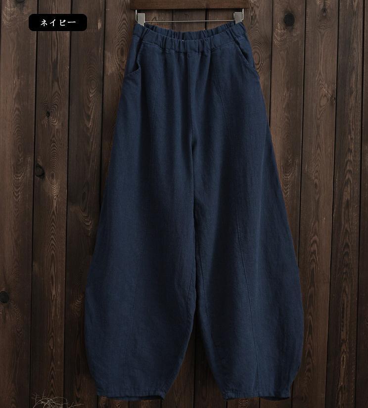 韓国 ファッション パンツ ボトムス 春 夏 秋 カジュアル PTXI781  リネン風 ゆったり ワイド バギーパンツ 裾絞り オルチャン シンプル 定番 セレカジの写真19枚目