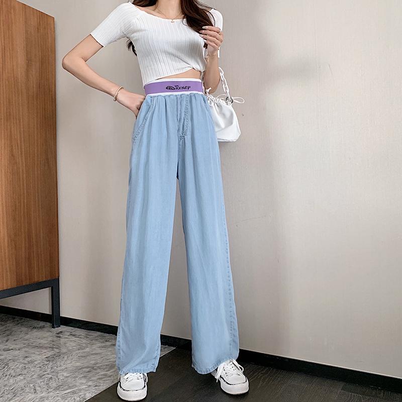 韓国 ファッション パンツ デニム ジーパン ボトムス 春 夏 秋 カジュアル PTXI791  ロゴ ウエストゴム ゆったり ワイドストレート オルチャン シンプル 定番 セレカジの写真2枚目