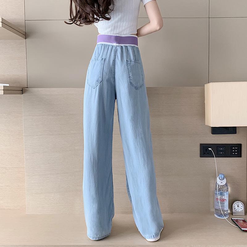 韓国 ファッション パンツ デニム ジーパン ボトムス 春 夏 秋 カジュアル PTXI791  ロゴ ウエストゴム ゆったり ワイドストレート オルチャン シンプル 定番 セレカジの写真3枚目
