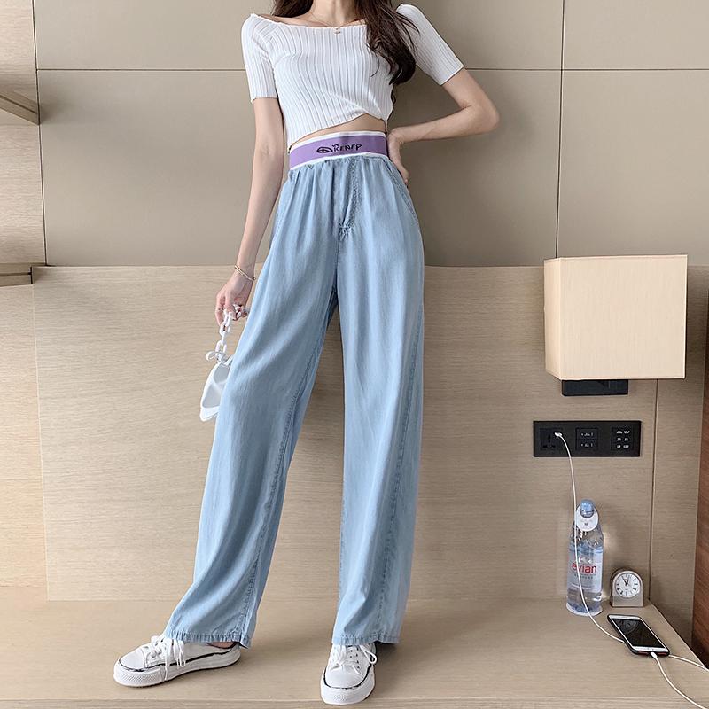 韓国 ファッション パンツ デニム ジーパン ボトムス 春 夏 秋 カジュアル PTXI791  ロゴ ウエストゴム ゆったり ワイドストレート オルチャン シンプル 定番 セレカジの写真5枚目