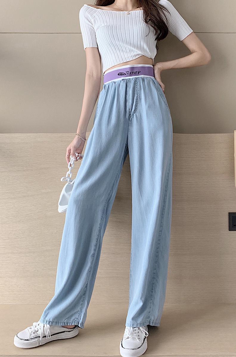 韓国 ファッション パンツ デニム ジーパン ボトムス 春 夏 秋 カジュアル PTXI791  ロゴ ウエストゴム ゆったり ワイドストレート オルチャン シンプル 定番 セレカジの写真7枚目