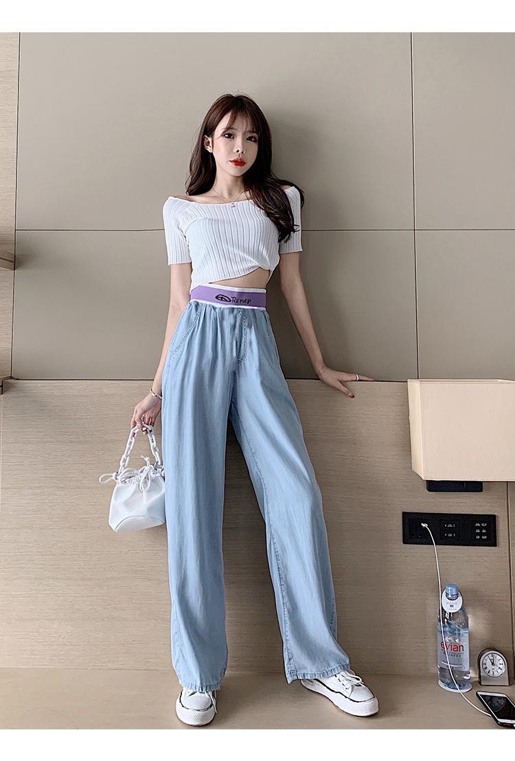 韓国 ファッション パンツ デニム ジーパン ボトムス 春 夏 秋 カジュアル PTXI791  ロゴ ウエストゴム ゆったり ワイドストレート オルチャン シンプル 定番 セレカジの写真9枚目