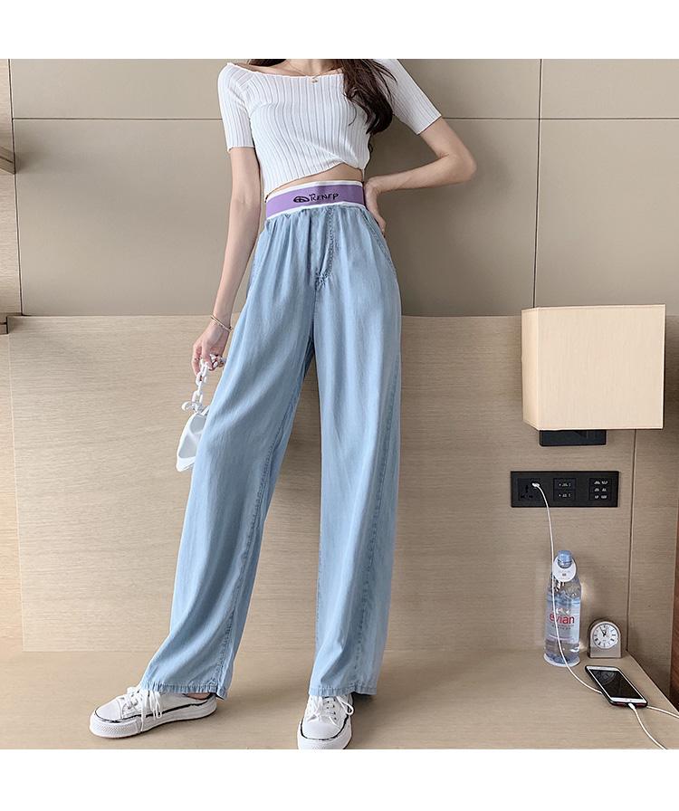韓国 ファッション パンツ デニム ジーパン ボトムス 春 夏 秋 カジュアル PTXI791  ロゴ ウエストゴム ゆったり ワイドストレート オルチャン シンプル 定番 セレカジの写真10枚目