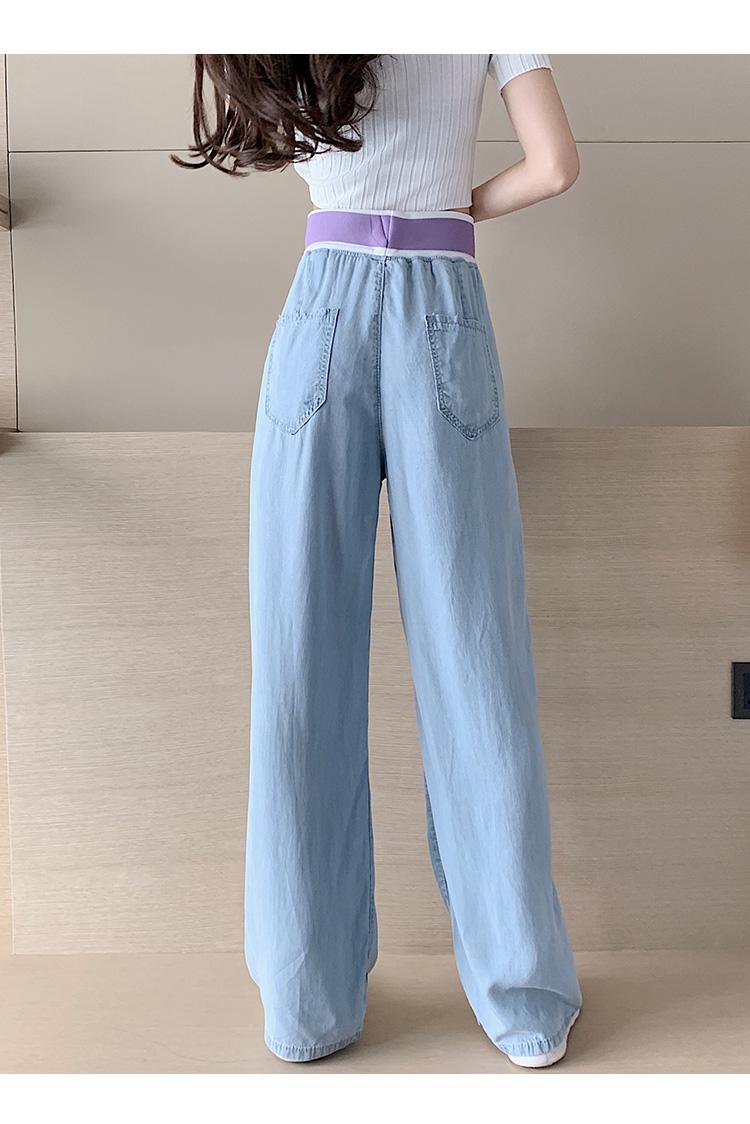 韓国 ファッション パンツ デニム ジーパン ボトムス 春 夏 秋 カジュアル PTXI791  ロゴ ウエストゴム ゆったり ワイドストレート オルチャン シンプル 定番 セレカジの写真12枚目