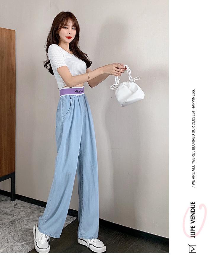 韓国 ファッション パンツ デニム ジーパン ボトムス 春 夏 秋 カジュアル PTXI791  ロゴ ウエストゴム ゆったり ワイドストレート オルチャン シンプル 定番 セレカジの写真15枚目