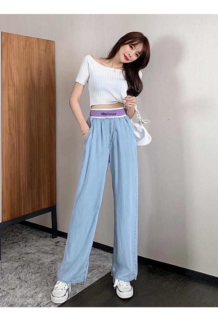 韓国 ファッション パンツ デニム ジーパン ボトムス 春 夏 秋 カジュアル PTXI791  ロゴ ウエストゴム ゆったり ワイドストレート オルチャン シンプル 定番 セレカジの写真16枚目