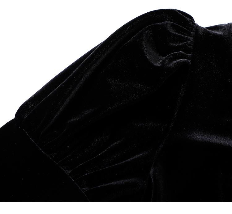 韓国 ファッション ワンピース パーティードレス ショート ミニ丈 春 秋 冬 パーティー ブライダル PTXI842 結婚式 お呼ばれ バックリボン ハイネック フレア A 二次会 セレブ きれいめの写真16枚目