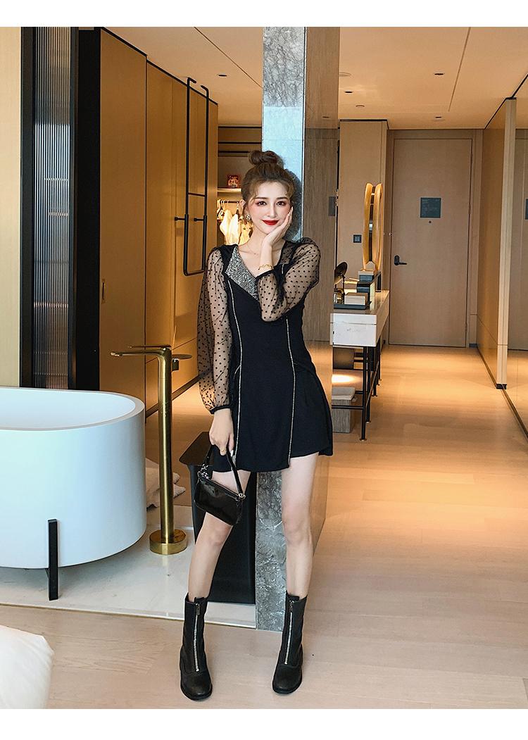 韓国 ファッション ワンピース パーティードレス ショート ミニ丈 春 秋 冬 パーティー ブライダル PTXI846 結婚式 お呼ばれ アシンメトリー シースルー ショーパ 二次会 セレブ きれいめの写真7枚目
