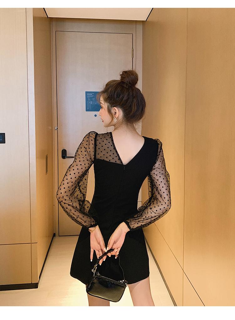 韓国 ファッション ワンピース パーティードレス ショート ミニ丈 春 秋 冬 パーティー ブライダル PTXI846 結婚式 お呼ばれ アシンメトリー シースルー ショーパ 二次会 セレブ きれいめの写真8枚目