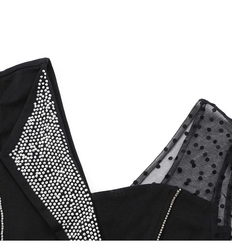 韓国 ファッション ワンピース パーティードレス ショート ミニ丈 春 秋 冬 パーティー ブライダル PTXI846 結婚式 お呼ばれ アシンメトリー シースルー ショーパ 二次会 セレブ きれいめの写真12枚目
