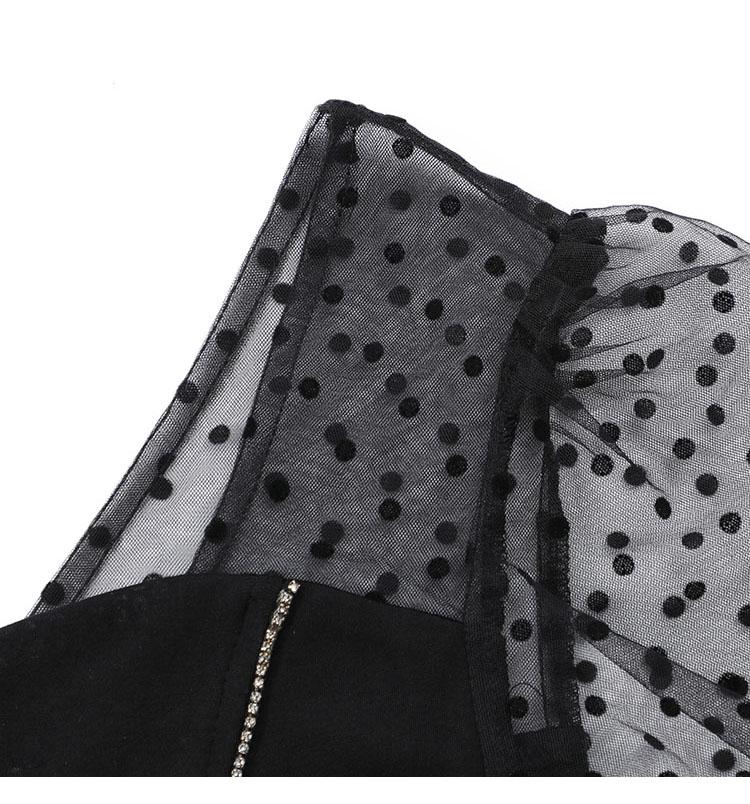 韓国 ファッション ワンピース パーティードレス ショート ミニ丈 春 秋 冬 パーティー ブライダル PTXI846 結婚式 お呼ばれ アシンメトリー シースルー ショーパ 二次会 セレブ きれいめの写真13枚目