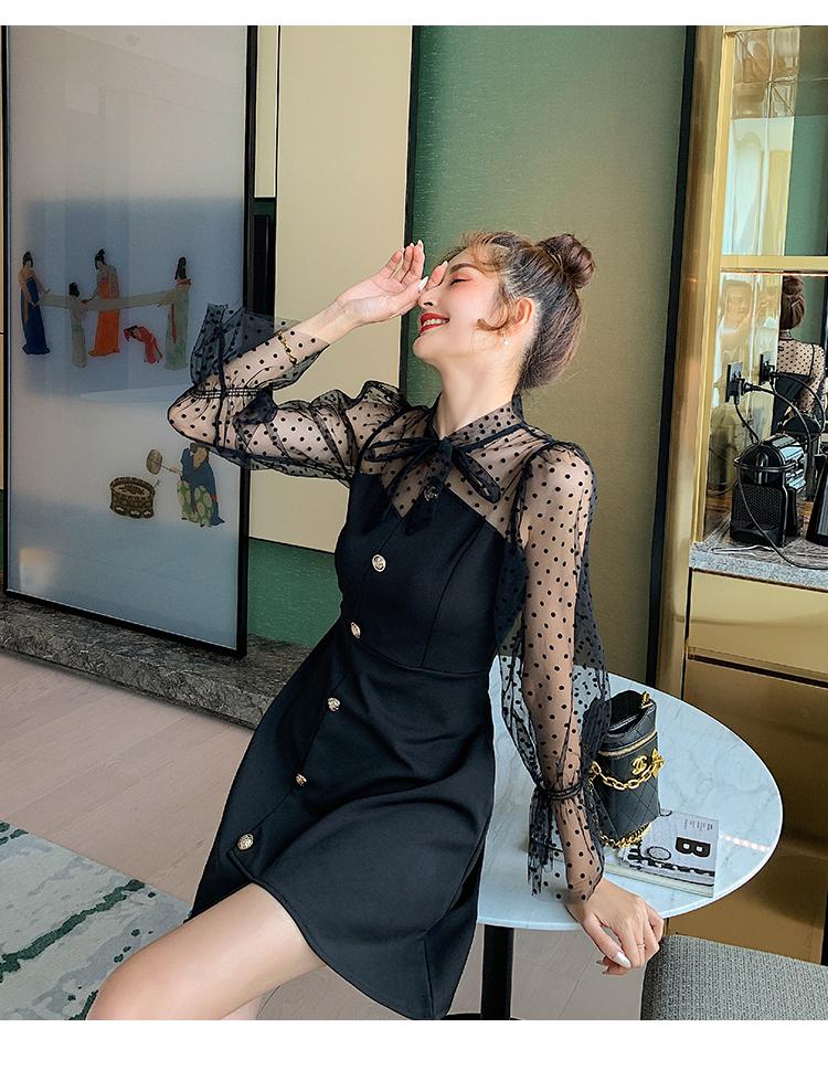 韓国 ファッション ワンピース パーティードレス ショート ミニ丈 春 秋 冬 パーティー ブライダル PTXI858 結婚式 お呼ばれ シースルー ボウタイ アシンメトリー 二次会 セレブ きれいめの写真6枚目