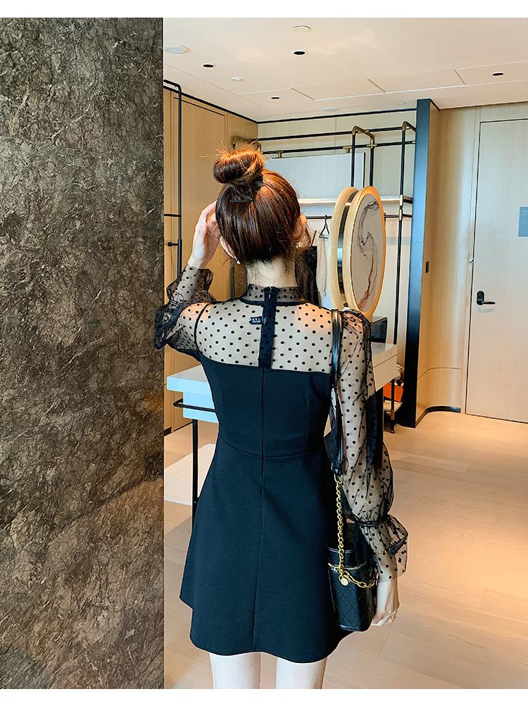 韓国 ファッション ワンピース パーティードレス ショート ミニ丈 春 秋 冬 パーティー ブライダル PTXI858 結婚式 お呼ばれ シースルー ボウタイ アシンメトリー 二次会 セレブ きれいめの写真11枚目