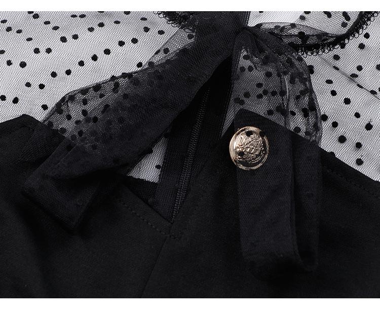 韓国 ファッション ワンピース パーティードレス ショート ミニ丈 春 秋 冬 パーティー ブライダル PTXI858 結婚式 お呼ばれ シースルー ボウタイ アシンメトリー 二次会 セレブ きれいめの写真15枚目