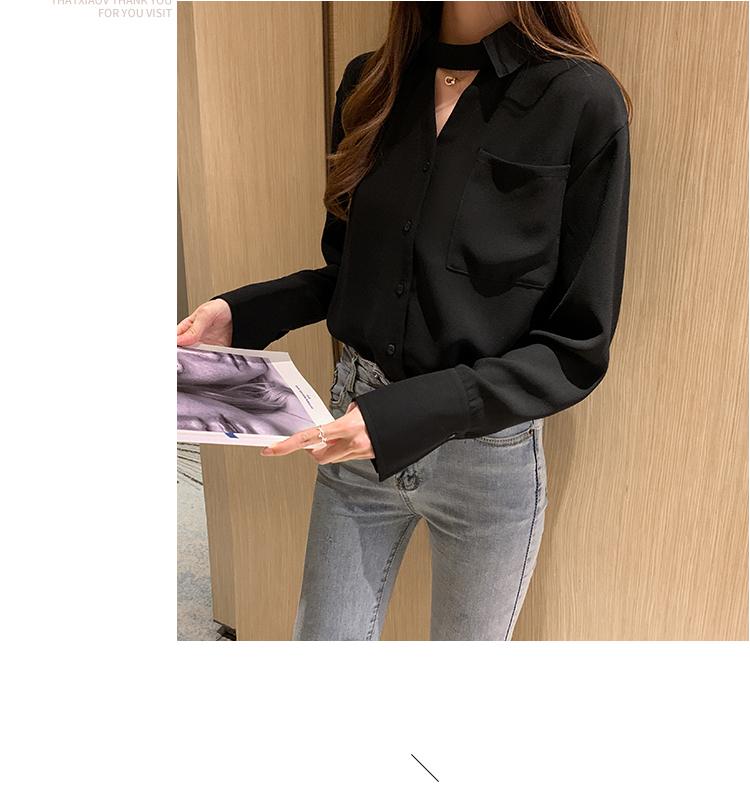 韓国 ファッション トップス ブラウス シャツ 春 秋 冬 カジュアル PTXI904  チョーカー風 肌見せ オーバーサイズ モダン オルチャン シンプル 定番 セレカジの写真11枚目