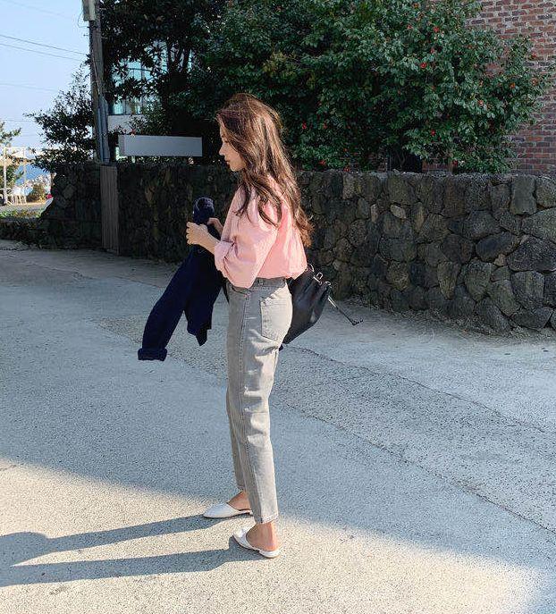 韓国 ファッション トップス ブラウス シャツ 春 秋 冬 カジュアル PTXI914  シアー ゆったり セルフストライプ ノーカラー オルチャン シンプル 定番 セレカジの写真10枚目