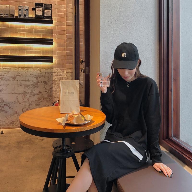 韓国 ファッション トップス スウェット トレーナー 春 秋 冬 カジュアル PTXI931  オーバーサイズ フェイクレイヤード トレーナー オルチャン シンプル 定番 セレカジの写真4枚目
