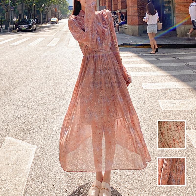 韓国 ファッション ワンピース 春 秋 冬 カジュアル PTXI944  シアー プリーツ フリル スタンドカラー オルチャン シンプル 定番 セレカジの写真1枚目