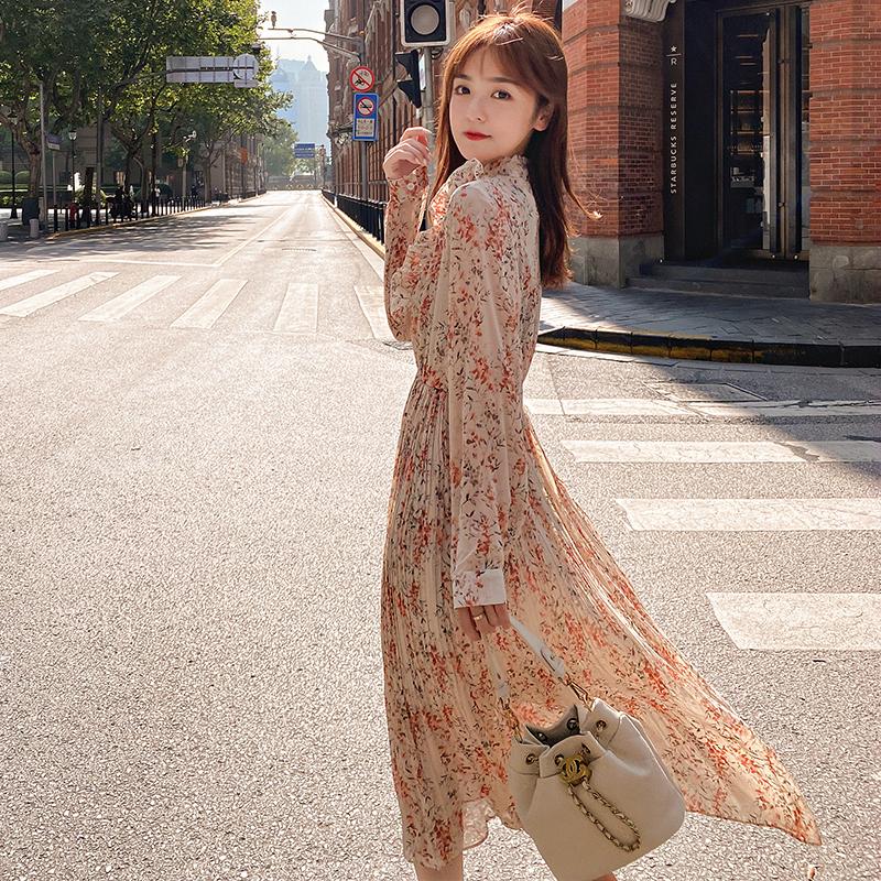 韓国 ファッション ワンピース 春 秋 冬 カジュアル PTXI944  シアー プリーツ フリル スタンドカラー オルチャン シンプル 定番 セレカジの写真3枚目