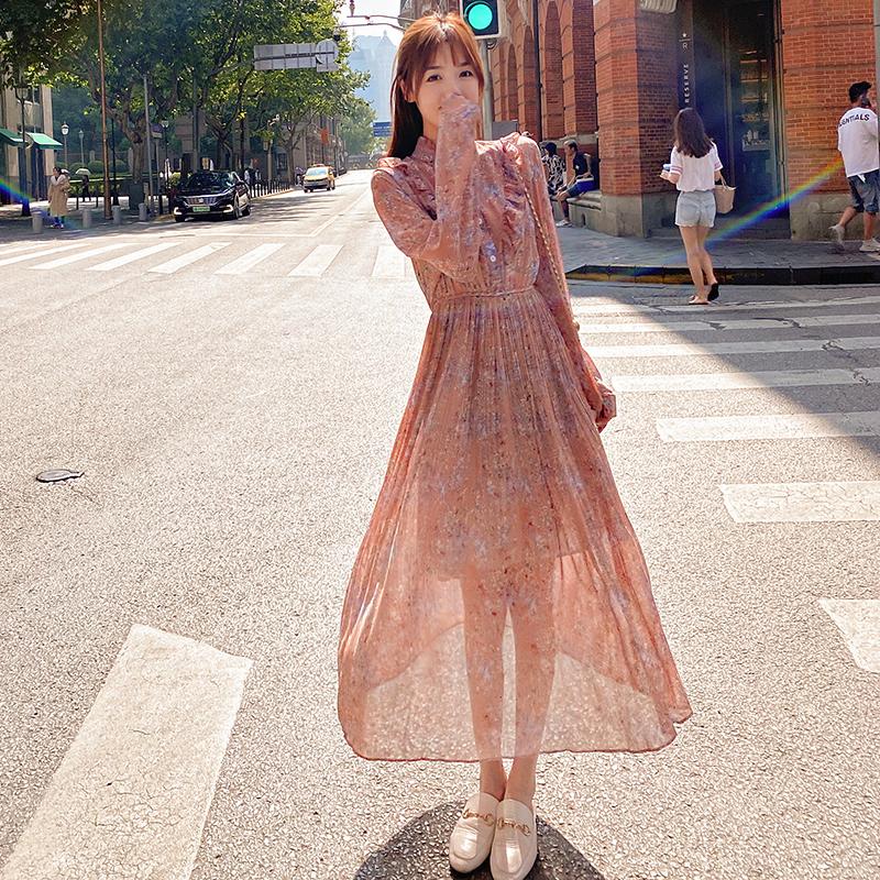 韓国 ファッション ワンピース 春 秋 冬 カジュアル PTXI944  シアー プリーツ フリル スタンドカラー オルチャン シンプル 定番 セレカジの写真4枚目