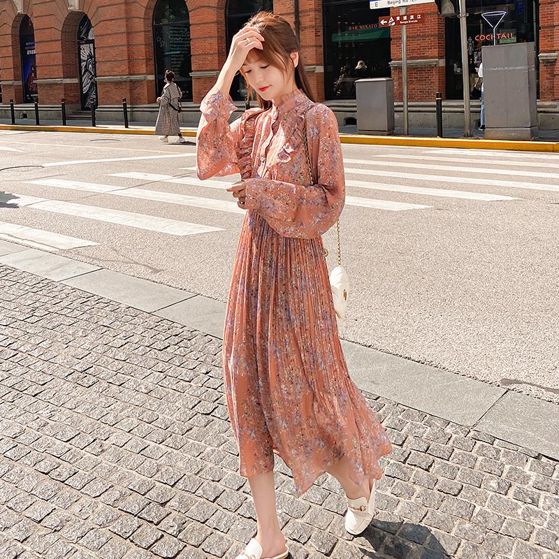 韓国 ファッション ワンピース 春 秋 冬 カジュアル PTXI944  シアー プリーツ フリル スタンドカラー オルチャン シンプル 定番 セレカジの写真5枚目