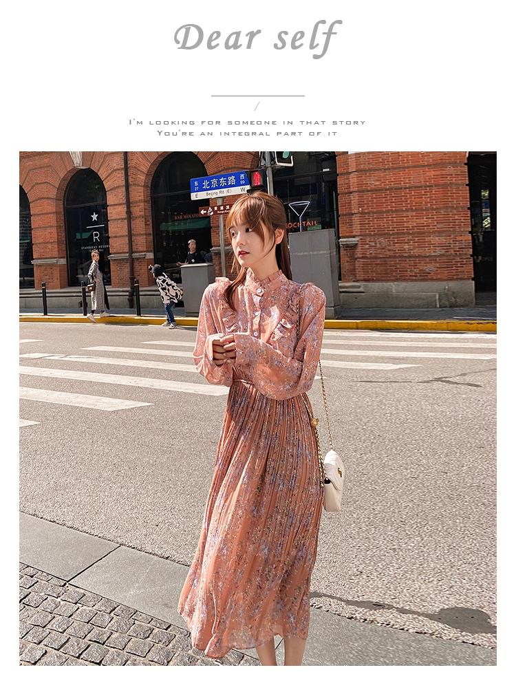 韓国 ファッション ワンピース 春 秋 冬 カジュアル PTXI944  シアー プリーツ フリル スタンドカラー オルチャン シンプル 定番 セレカジの写真6枚目