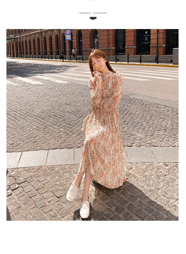 韓国 ファッション ワンピース 春 秋 冬 カジュアル PTXI944  シアー プリーツ フリル スタンドカラー オルチャン シンプル 定番 セレカジの写真7枚目