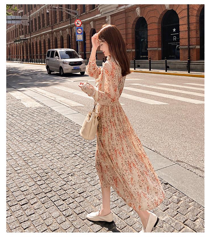 韓国 ファッション ワンピース 春 秋 冬 カジュアル PTXI944  シアー プリーツ フリル スタンドカラー オルチャン シンプル 定番 セレカジの写真11枚目