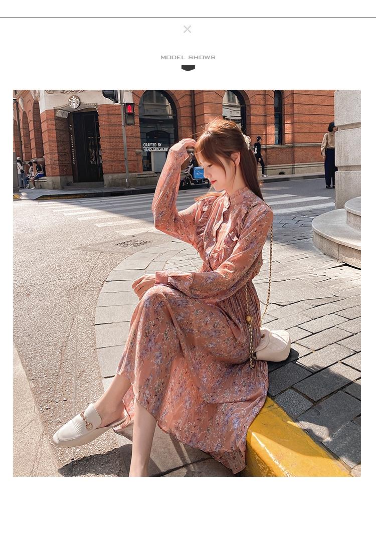 韓国 ファッション ワンピース 春 秋 冬 カジュアル PTXI944  シアー プリーツ フリル スタンドカラー オルチャン シンプル 定番 セレカジの写真14枚目