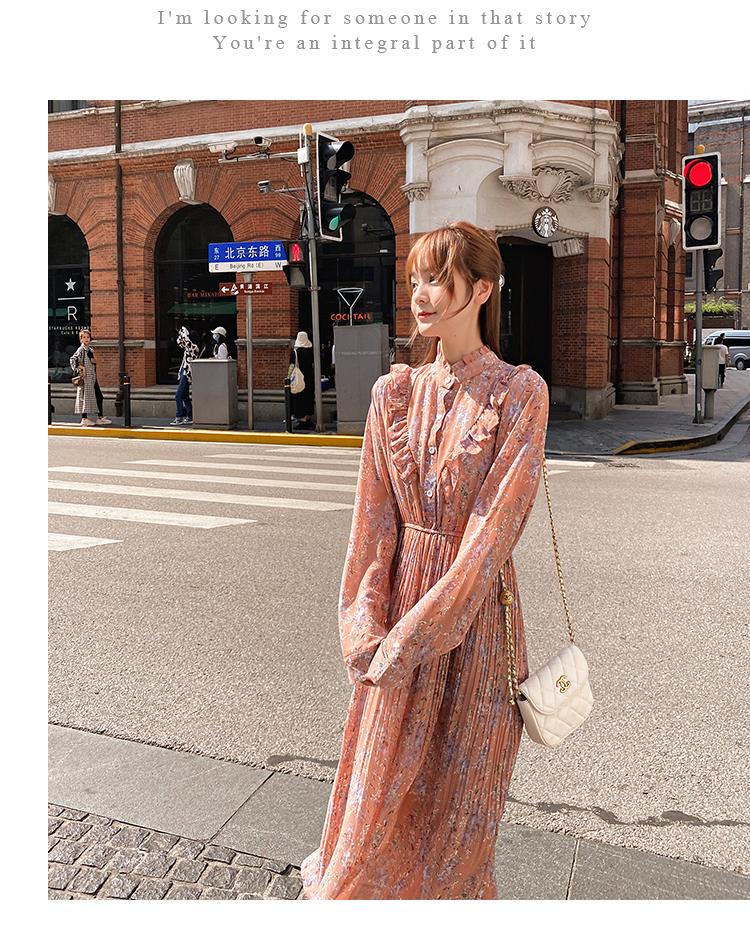 韓国 ファッション ワンピース 春 秋 冬 カジュアル PTXI944  シアー プリーツ フリル スタンドカラー オルチャン シンプル 定番 セレカジの写真15枚目